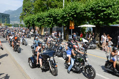 Bykers of the parade to the Swiss Harley Days at Lugano on Switz Stock Photos