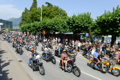 Bykers of the parade to the Swiss Harley Days at Lugano on Switz Royalty Free Stock Photo