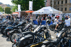 Bykers of the parade to the Swiss Harley Days at Lugano on Switz Royalty Free Stock Photography