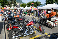 Bykers of the parade to the Swiss Harley Days at Lugano on Switz Stock Photography