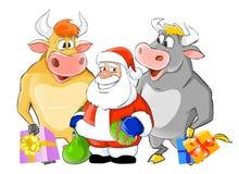 byki Claus Santa dwa Zdjęcie Stock
