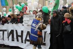 Bykow, Aleksashenko, Kasparov und Nemtsov an dem März für angemessene Wahlen Stockfotos