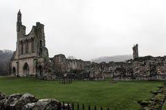 Byland Abbey With Mist in alberi Fotografia Stock