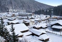 Byn av snö Arkivbild
