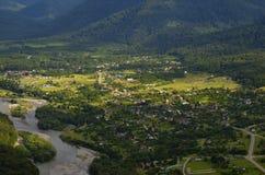 Byn i dalen av Kaukasuset Fotografering för Bildbyråer