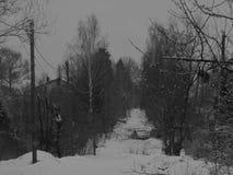Byn i vinter arkivfoton