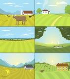 Byn landskap fältet för vektorillustrationlantgården och inhyser den åkerbruka grafiska landssidan stock illustrationer