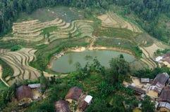 Byn med fältet runt om den lilla sjön på den Dong Van sten-platån, Viet Nam Arkivbilder