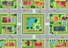 Byn och parkerar sikt från överkant Arkivbild