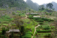 Byn på den Dong Van sten-platån, Viet Nam Royaltyfri Foto