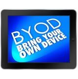 BYOD片剂计算机蓝色屏幕带来您自己的设备首字母缩略词 库存例证