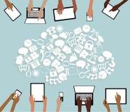 BYOD φέρνει το σύννεφο και τα χέρια εικονιδίων ταμπλετών συσκευών σας Στοκ Εικόνες