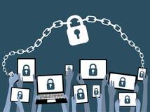 BYOD apportent votre propre bleu de degré de sécurité de dispositif Photographie stock