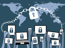 BYOD brengt Uw Eigen Blauw van de Apparatenveiligheid Stock Foto