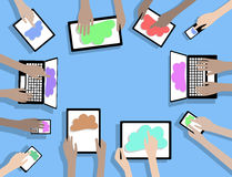 BYOD Bring Your Own Device Computers using Cloud C Royalty Free Stock Photography