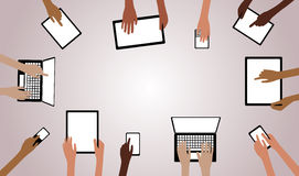BYOD Bring your own Device Hands with Computers Ta Royalty Free Stock Image