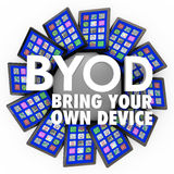 BYOD Bring Your Own Device Tablets Computers Mobile Work stock illustration