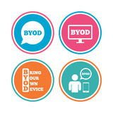 BYOD signs. Human with notebook and smartphone. Stock Photography