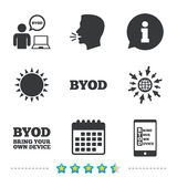BYOD signs. Human with notebook and smartphone. stock illustration