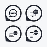 BYOD signs. Notebook and smartphone icons. Royalty Free Stock Photos