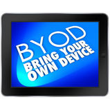 BYOD Tablet Computer Blue Screen Bring Your Own Device Acronym stock illustration