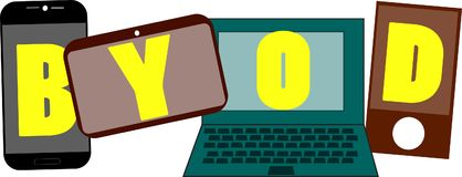 BYOD-Worttext-Logo Illustration stock abbildung