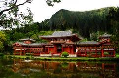 Byodo在寺庙的池塘反射 免版税库存图片