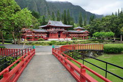 Byodo-In Buddhist Temple. Byodo-In Buddhist Japanese Temple in the Valley of the Temples, Oahu, Hawaii--replica of the famous temple by the same name in Kyoto Stock Image