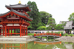 Byodo-in Buddhist temple. June 20, 2015: The famous Byodo-in Buddhist temple a UNESCO World Heritage Site. Phoenix Hall building in Uji city Royalty Free Stock Image