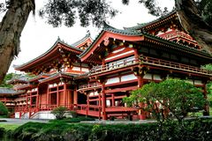 Byodo-In Buddhist temple- Oahu, Hawaii. Modeled after a famous Buddhist temple in Japan, this working temple lies in the Valley of the Temples on Oahu Royalty Free Stock Image