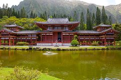 Byodo-in Buddhist temple in Oahu, Hawaii. This is a picture of the peaceful, tranquil Byodo-in Buddhist temple in Oahu, Hawaii. Including lake, gardens and Royalty Free Stock Photos