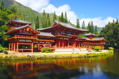Byodo-In Buddhist Temple in Valley of the Temples, Kaneohe, Oahu. HDR image of the famous Byodo-In Buddhist Temple in Valley of the Temples, Kaneohe, Oahu Stock Photo
