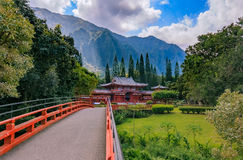 Byodo-in Buddhist Temple in the Valley of the Temples in Oahu, H. Byodo-in Buddhist Temple at the Koolau mountains in the Valley of the Temples in Oahu, Hawaii Royalty Free Stock Image