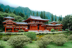 Byodo-In Japanese Temple Oahu. This temple is made without a single nail. It is all peg construction. The Byodo-In Temple in Oahu is a smaller-scale replica of Stock Photos
