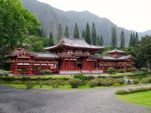 Byodo-In Temple. Japanese Architecture Byodo-In Temple in the Valley of the Temples in Kaneohe, Hawaii Royalty Free Stock Photography