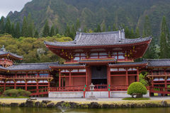 Byodo-In Temple, Oahu, Hawai. Frontal view of Byodo-In Temple in Valley of Temples near Kaneohe, Oahu, Hawaii Stock Image