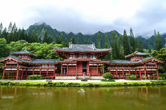 Byodo-In Temple. Sits at the foot of the Koolau mountains in the Valley of the Temples on Oahu, Hawaii Stock Images
