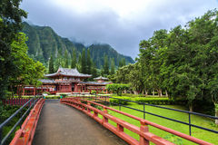 Byodo-In Temple. Sits at the foot of the Koolau mountains in the Valley of the Temples on Oahu, Hawaii Royalty Free Stock Photo