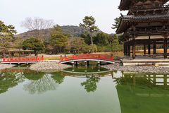 Byodoin Temple in winter season, Japan. Uji, Kyoto, Japan - famous Byodo-in Buddhist temple, a UNESCO World Heritage Site. Phoenix Hall building Royalty Free Stock Photos