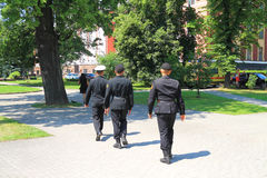 Bypass military patrol on a summer day. KALININGRAD, RUSSIA — JULY 7, 2014: Bypass military patrol on a summer day Stock Images