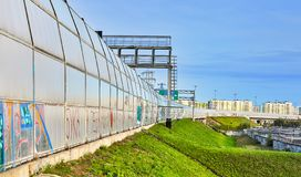 Bypass road fence barrier from outside, St. Petersburg, Russia royalty free stock photo