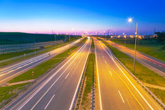 Bypass road of Tri city at dusk. Poland Royalty Free Stock Photo