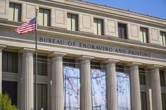 Byrå av gravyr och printing i Washington DC - WASHINGTON, DISTRICT OF COLUMBIA - APRIL 8, 2017 Royaltyfri Bild