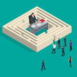 Byråkrat i labyrinten Folkstand i en kö Byråkratibegrepp Isometrisk illustration för plan vektor 3d Arkivbilder