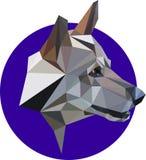 Byracka en varg, en hund i en polygonstil Text och teckning av flickan Arkivbilder