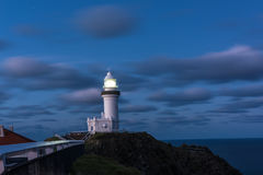 Byron Bay lighthouse at night in New South Wales, Australia Royalty Free Stock Images
