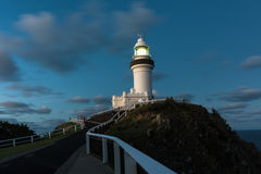 Byron Bay lighthouse at night in New South Wales, Australia stock images