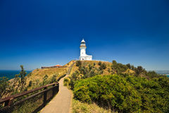 Byron Bay Lighthouse Silhouetted in Blue Sky Stock Photos