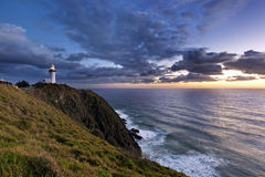Byron Bay Lighthouse Sunrise. Byron Bay lighthouse, Australia, at sunrise.  Pacific Ocean from most easterly point of Australia Stock Images