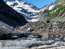 Byron Glacier is located near Portage Glacier in Girdwood, Alaska. This scenic glacier is located on a short trail in the Portage Glacier area stock image